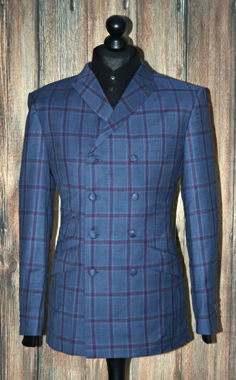 """Durrant"" Eight Double Button Blue & Red Check Suit"
